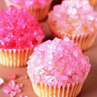 Rock candy cupcakes for dessert.