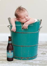 Adorable little newborn boy. Grandma said he looked like a drunk sailor in the bucket so we placed a beer next to him, LOL!, also wanted to show you a new amazing weight loss product sponsored by Pinterest! It worked for me and I didnt even change my diet...