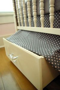under crib - DIY drawers. Genius.