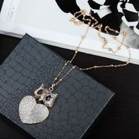 Gold Plated Pave Rhinestone Heart Owl Pendant Necklace