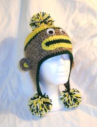 Green Bay Packers Football Crochet Sock Monkey Hat by CDBSTUDIO, $25.00
