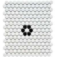 Metro Penny Matte White with Black Flower 11-1/2 in. x 9-7/8 in. Porcelain Mosaic Floor and Wall Tile-FDXMPMWF at The Home Depot