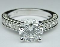 Engagement Ring - Round Diamond Engagement Ring Three sides pave diamond band - ES303MBR