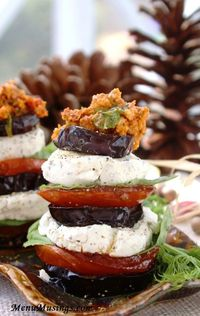 "Eggplant and Herbed Goat Cheese Stacks. For a meatless dish, eggplant has been called the ""poor man's cutlet"" because it can be quite meaty in texture."
