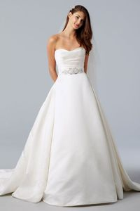 Fancy ball gown sleeveless satin wedding dress