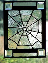 Halloween Stained Glass Spiderweb Panel