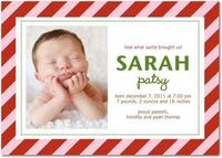 Winter Girl Birth Announcements Santa Stripes - Front : Blushing