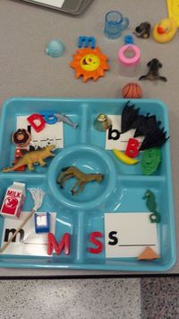 Beginning sound sort using Dollar Tree dip & chip trays.