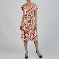 Issue New York Women's Red/ Cream Belted Wrap Dress