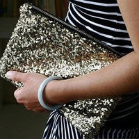 Women Sequins Dazzling Glitter Bling Clutch Purse Evening Party Bag Handbag