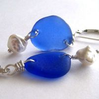 Cobalt Blue Sea Glass Keishi Pearl Earrings Sterling Silver