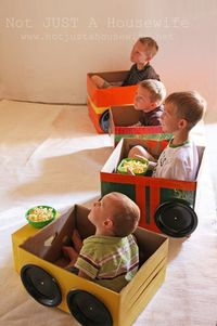 Turn cardboard boxes into cars, trains, airplanes or anything else creative for a fun place for the kids to sit.