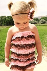 Petti Romper Light Pink and Brown Romper by DemiBlairCouture, $22.00