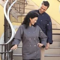 Orleans Chef Coat by Uncommon Threads - An eco-friendly Chef Coat crafted from recycled material, that can take anything you throw at it. Features 10 matching buttons/reversible closure and comes in stone, olive, brown, slate and navy.