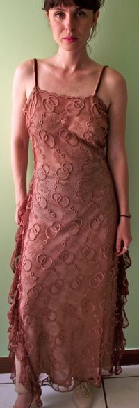 wine colored lace dress with nude lining.