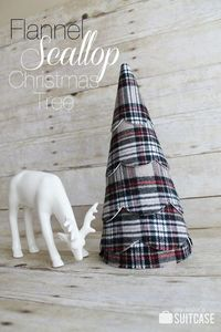 Flannel Scallop Christmas Tree tutorial at www.sisterssuitcase.blog.com #christmas #decor