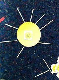 Space theme: Counting the Sun's Rays activity. On a light blue piece of posterboard, attach several yellow circles. Program each circle with a number. Laminate. The children will take yellow toothpicks or yellow and orange paper elongated triangles an...