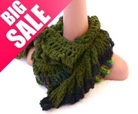 All Items 12-15 USD Ruffled Scarf Made from Green Velvet and Boucle Yarns