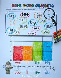Sight Word Graphing! A fun way to practice sight words identification with different fonts and math graphing skills!