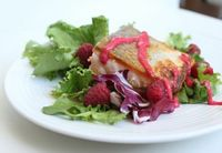 Raspberry Butter Sauce with Crispy Salmon and Salad Greens #Primal #Paleo #LCHF #Diet #Summer