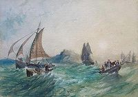 Antique watercolor painting by J. Pendlebury 1857