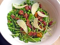 Pea, Bacon, and Pecorino Salad. Looks good. Can't wait to get some fresh peas for this.