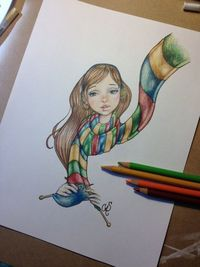 One More Stitch Scarf Knitting Original Drawing by cstotzer,
