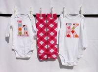 Initial onesie with coordinating legwarmers