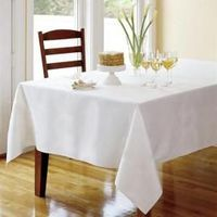 Infinity 100% polyester tablecloths in round, rectangular and square. Your choice of 16 colors. No-iron finish with Scotchgard stain release. Hemmed edges, durable and long lasting color.