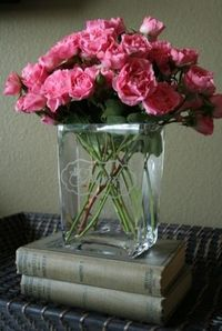 simply beautiful. DIY etched glass vase (make stencil with Cricut machine and contact paper)