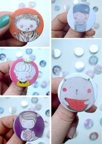 pinback buttons - cute, happy faces