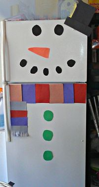 Frugal holiday fun! Decorate your refrigerator like a snowman. #mommysavers