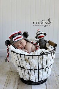 White Red & Dark Gray Sock Monkey Earflap Hat with by karlyskloset, $35.00