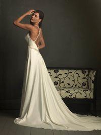 Soft Satin Beaded Sexy Deep V- neck With Halter Hollow Back Column Wedding Dress AWG0097