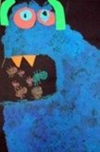 Kindergarteners painted and collaged their own old monster after listening to the story, There Was An Old Monster by Rebecca, Adrian, and Ed Emberly.