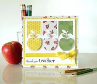 LOVE the apples and the cut-out strips shadowing them. Card by Melinda Spinks - The Scrap Farm