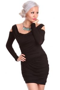 Black Draped Front Scoop Neck Bare Shoulders Ruched Stylish Dress