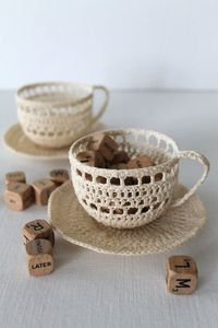 Crochet lace teacup