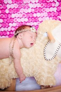 Newborn shot with props.