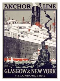 Anchor Line, Glasgow to New York Giclee Print by Kenneth Shoesmith at Art.com