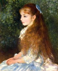 Pierre-Auguste Renior, Mademoiselle Irene Cahen d'Anvers Portrait, Circa 1880. 8 year old Irene is sitting in the garden, daughter of Parisian Banker.