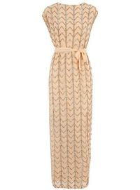 Peach maxi with all over sequin chevron embellishment and low v back