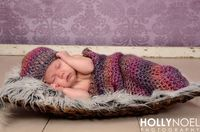 Crochet Purple Cocoon and Hat Photography Prop Newborn