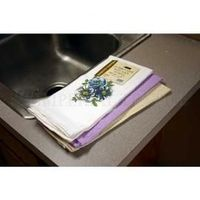 Embroidered kitchen towels with flower design. 100% cotton; thick woven popcorn texture. Machine wash, 18 x 28 in.
