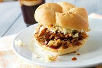 Pulled pork with sweet and tangy bbq sauce...Want to try & make sometime when I am feeling brave. :)