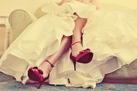 red shoes + wedding gown #red #wedding
