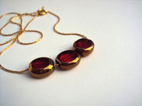 Ruby necklace on a gold plated chain