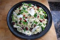Orzo with arugula and dried cranberries Greek Fusion Cuisine