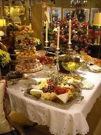 buffet table for holiday parties