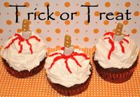 Trick or Treat Bloody Halloween Cupcakes